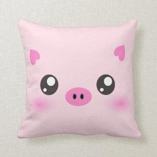 Cara linda del cerdo - minimalism del kawaii cojín decorativo