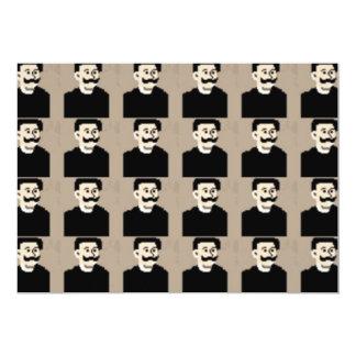 Cara linda divertida del bigote feliz invitación 12,7 x 17,8 cm