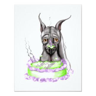 Cara negra de la torta de cumpleaños de great dane invitación 10,8 x 13,9 cm