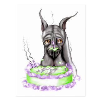 Cara negra de la torta de cumpleaños de great dane postal