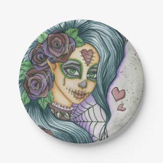 Cara púrpura de la hada del cráneo del azúcar plato de papel