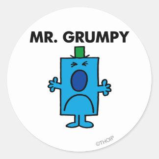 Cara que frunce el ceño de Sr. Grumpy el | Pegatina Redonda