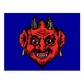 Cara roja de cuernos del diablo de Satan Postal