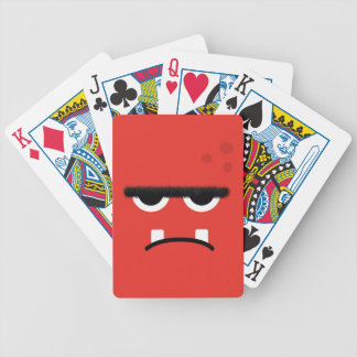 Cara roja divertida del monstruo baraja de cartas bicycle