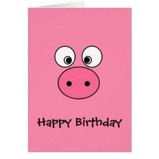 Cara rosada del cerdo tarjeta de felicitación