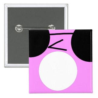 Cara rosada del Emoticon y negra fresca chocada Chapa Cuadrada