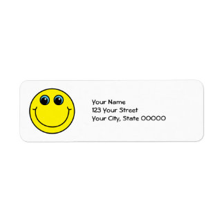 Cara sonriente amarilla etiqueta de remite