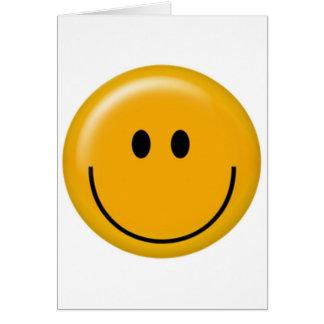 Cara sonriente amarilla feliz tarjeta
