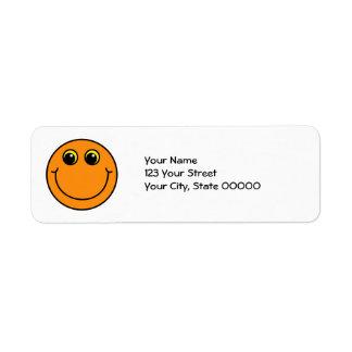 Cara sonriente anaranjada etiqueta de remitente