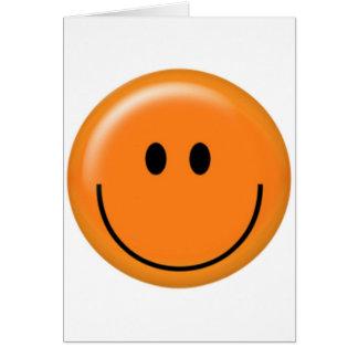 Cara sonriente anaranjada feliz tarjetón