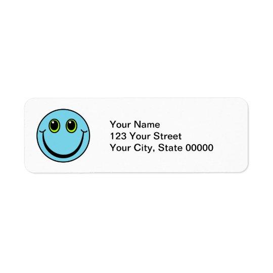 Cara sonriente azul etiquetas de remite