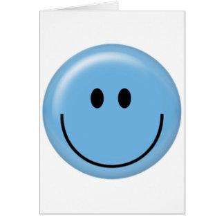Cara sonriente azul feliz tarjetón