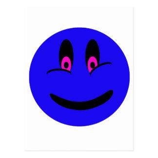 Cara sonriente azul tarjeta postal