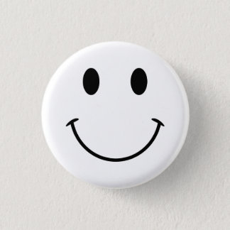 Cara sonriente blanca y negra chapa redonda de 2,5 cm