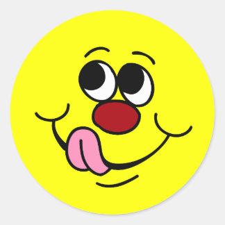 Cara sonriente codiciosa Grumpey Pegatinas Redondas