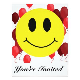Cara sonriente con los globos rojos invitación 10,8 x 13,9 cm