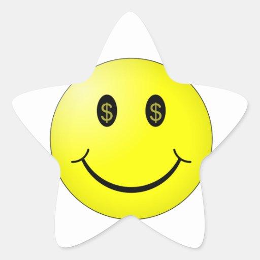 Cara sonriente con los ojos del símbolo del dólar calcomanías forma de estrella personalizadas