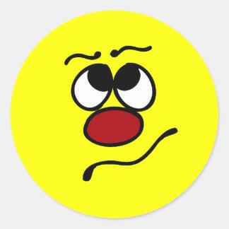 Cara sonriente confusa Grumpey Pegatina Redonda