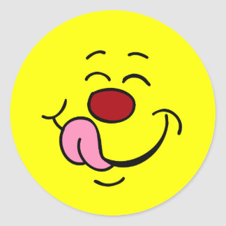 Cara sonriente contenta Grumpey Pegatina Redonda