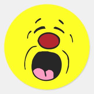 Cara sonriente de gimoteo Grumpey Pegatina Redonda
