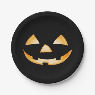 Cara sonriente de la calabaza - placa de papel del plato de papel