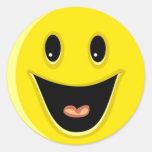 Cara sonriente de risa etiqueta redonda