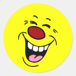Cara sonriente de risa Grumpey Etiquetas Redondas