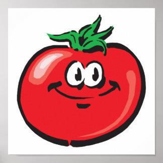 cara sonriente del tomate póster