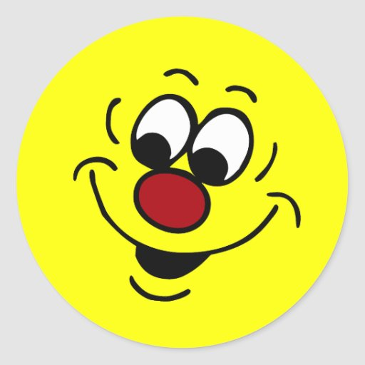 Cara sonriente distraída Grumpey Etiquetas Redondas