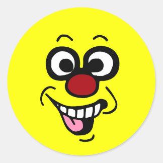 Cara sonriente divertida Grumpey Etiqueta