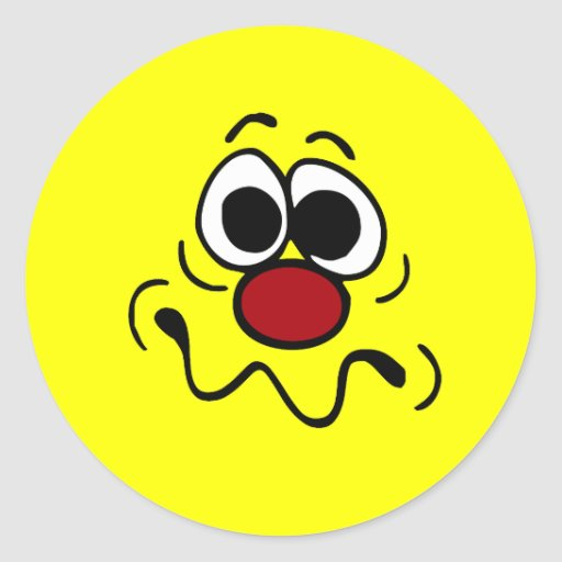 Cara sonriente drogada Grumpey Etiquetas Redondas
