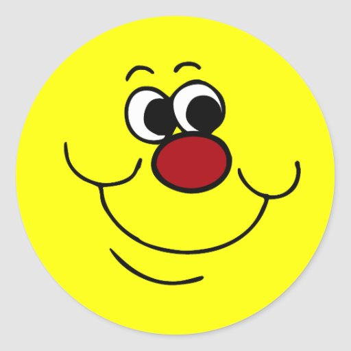 Cara sonriente egoísta Grumpey Etiquetas Redondas