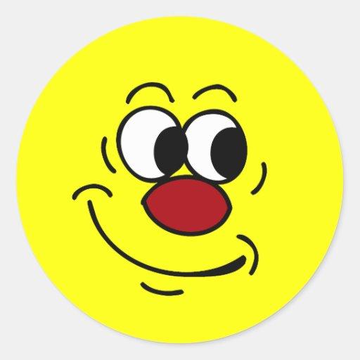 Cara sonriente estúpida Grumpey Pegatinas Redondas
