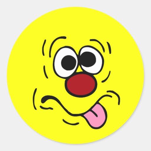 Cara sonriente extraña Grumpey Pegatinas Redondas