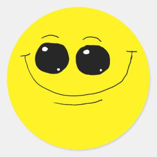 Cara sonriente feliz 10 pegatina redonda