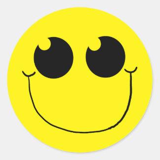 Cara sonriente feliz 1 pegatina redonda