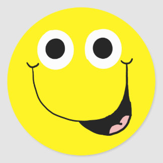 Cara sonriente feliz 2 pegatina redonda
