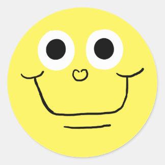 Cara sonriente feliz 3 pegatina redonda