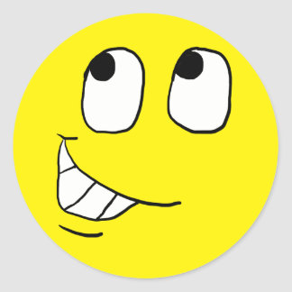 Cara sonriente feliz 8 pegatina redonda