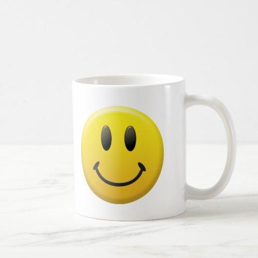 Cara sonriente feliz taza de café