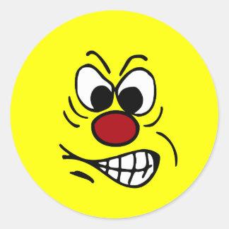 Cara sonriente frustrada Grumpey Pegatina Redonda