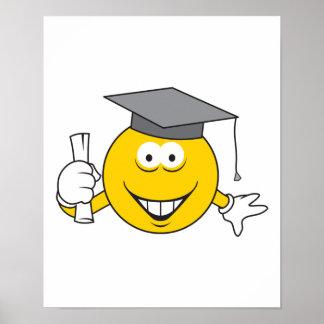 Cara sonriente graduada póster