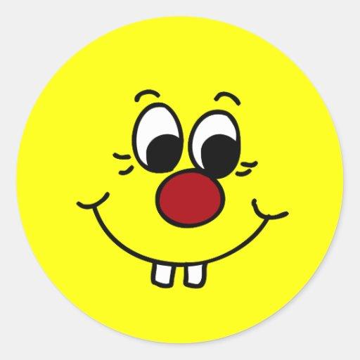 Cara sonriente Grumpey del genio Pegatinas Redondas