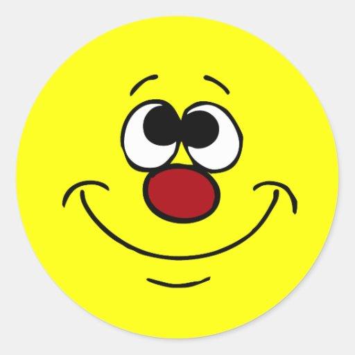 Cara sonriente Grumpey del soñador Etiqueta Redonda