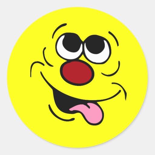 Cara sonriente idiota Grumpey Etiqueta Redonda
