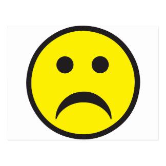 Cara sonriente infeliz de la tristeza tarjetas postales