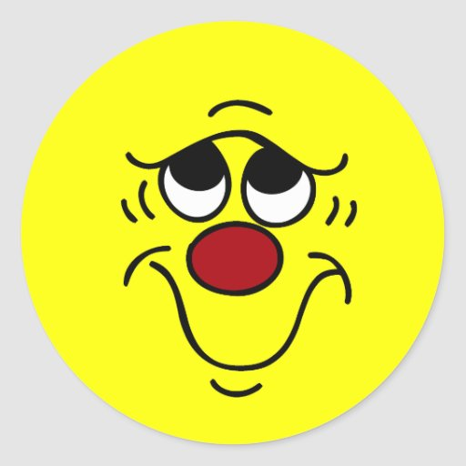 Cara sonriente insegura Grumpey Pegatinas Redondas