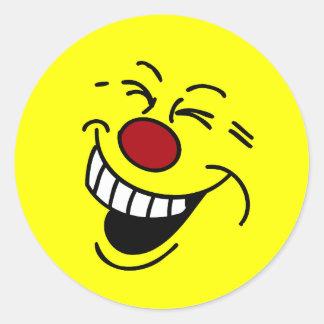 Cara sonriente loca Grumpey Pegatina Redonda