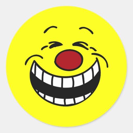 Cara sonriente mandona Grumpey Pegatina Redonda