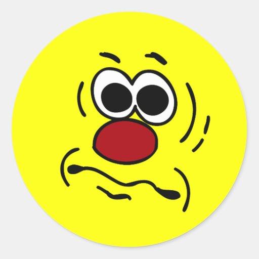 Cara sonriente muda Grumpey Pegatinas Redondas